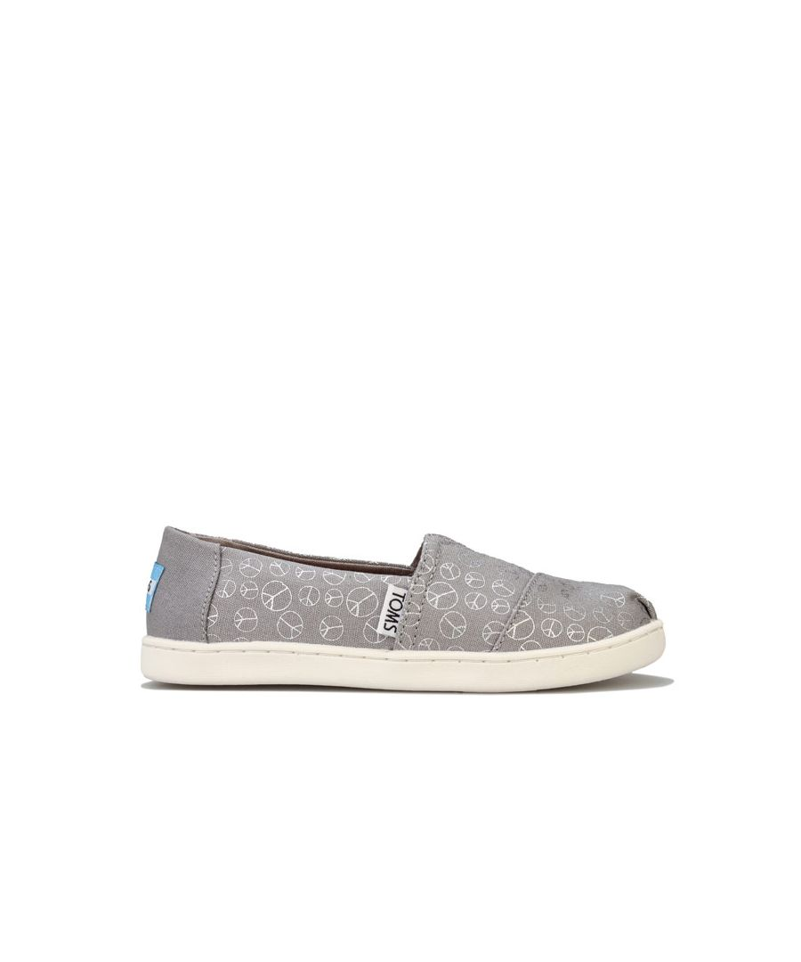 Image for Girl's Toms Childrens Foil Peace Pumps in Grey