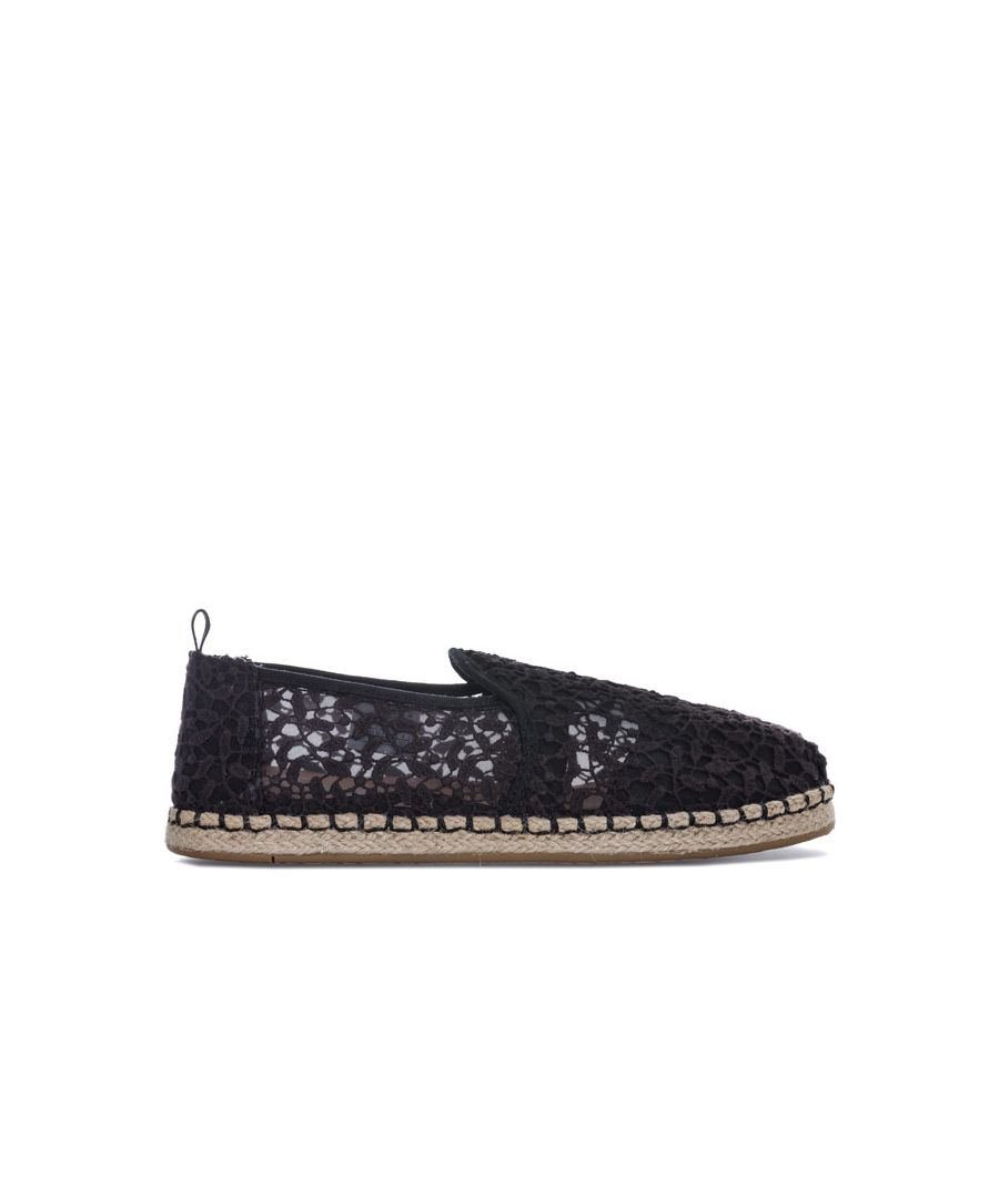 Image for Women's Toms Lace Leaves Deconstructed Espadrille Pumps in Black