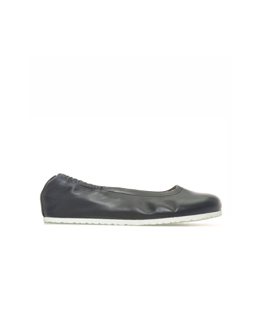Image for Women's Birkenstock Celina Leather Ballerina Shoes Regular in Navy