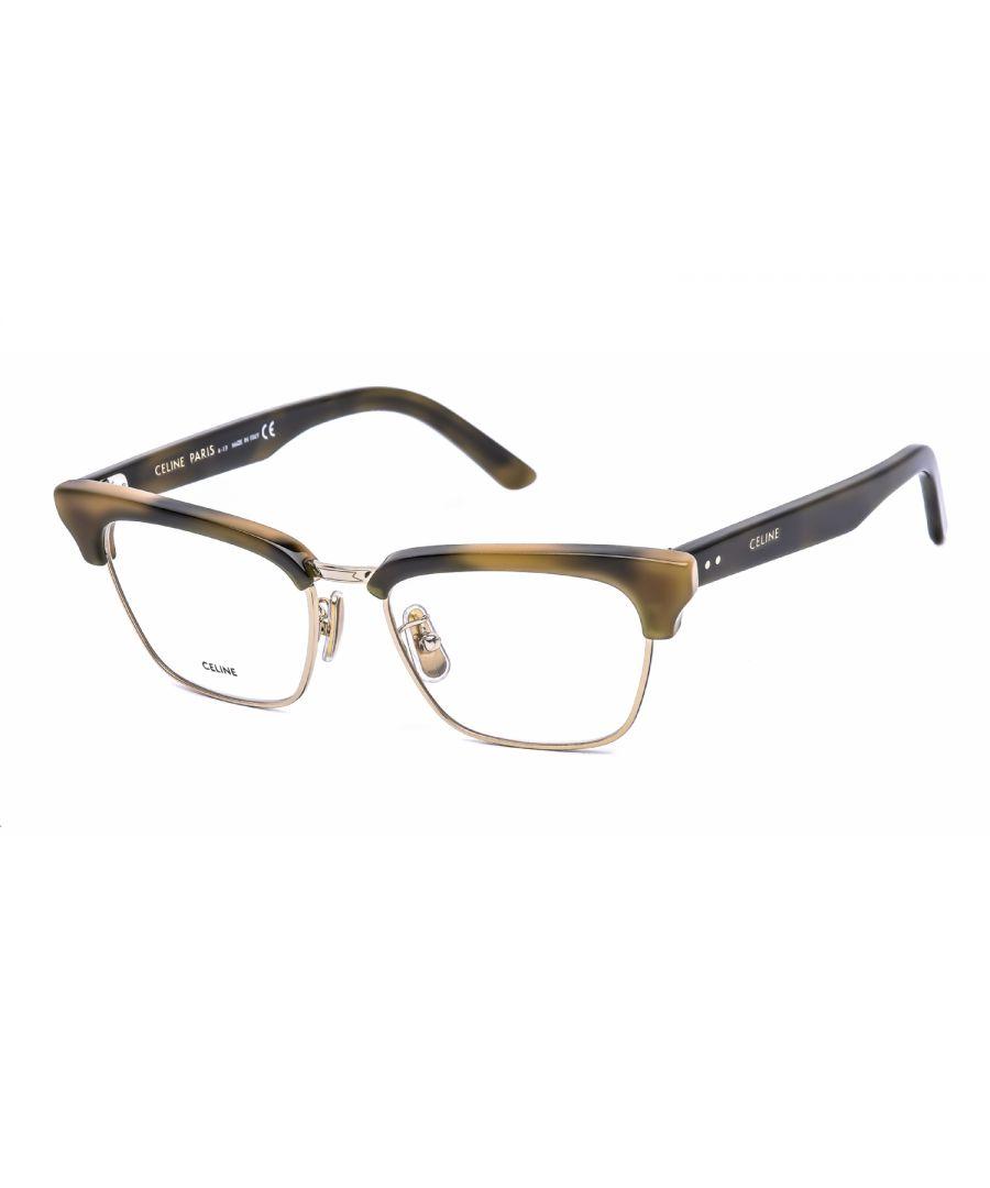 Image for Celine Rectangular Plastic Women Eyeglasses Khaki Havana / Clear Lens