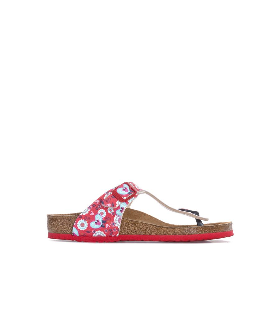 Image for Girl's Birkenstock Children Gizeh Minnie Flowers Sandals in Red