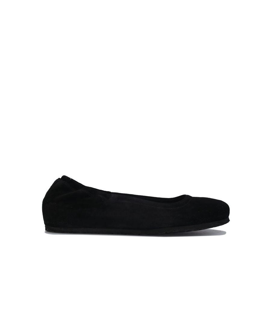 Image for Women's Birkenstock Celina Suede Ballerina Shoes Narrow Black UK 3.5in Black