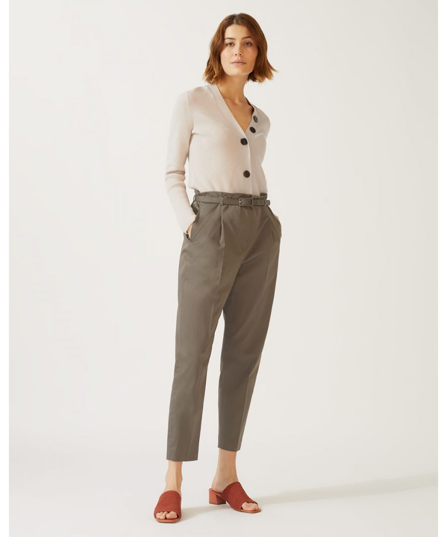 Image for Cotton Belted Peg Leg Trouser