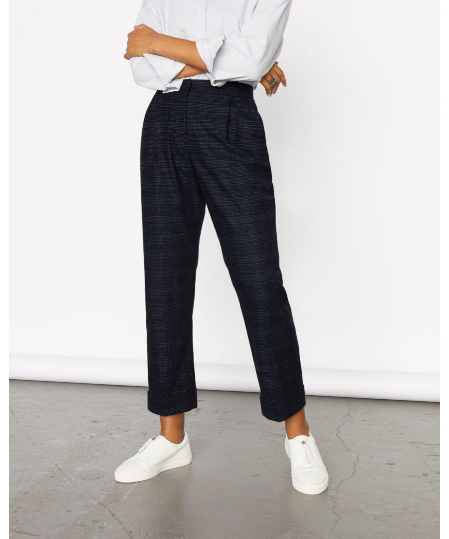 Image for Pleat Check Turn Up Trouser