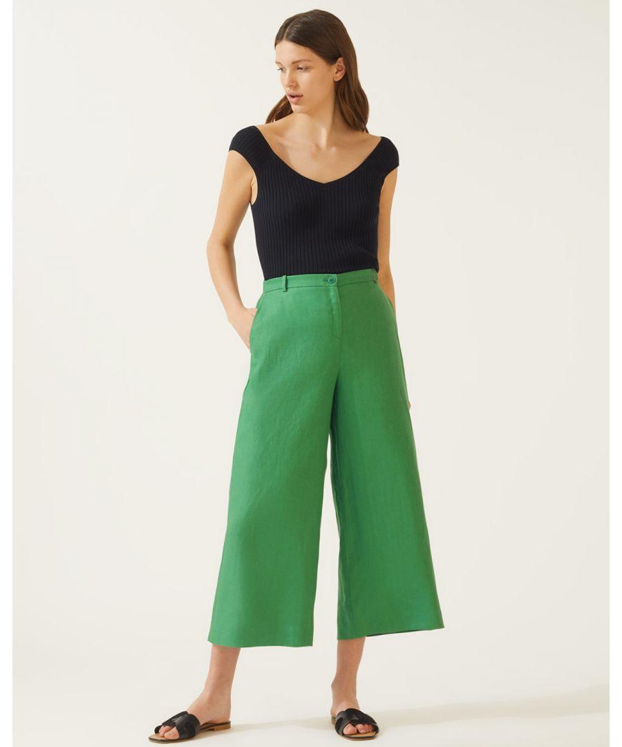 Image for Linen Herringbone Wide Crop Trouser