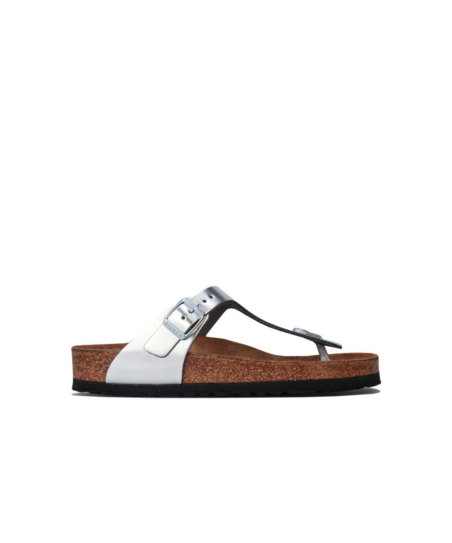 Image for Women's Birkenstock Gizeh Soft Footbed Leather Sandals Regular in Silver