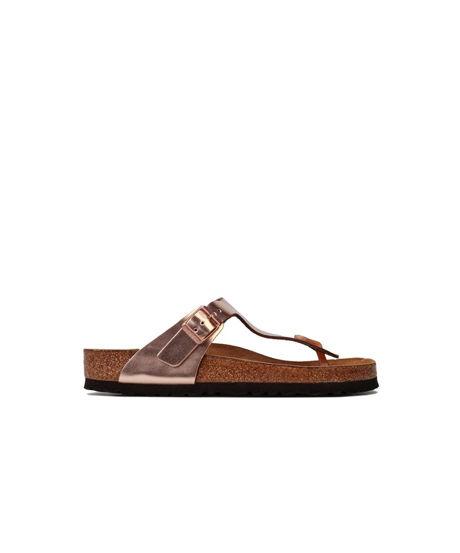 Image for Women's Birkenstock Gizeh Soft Footbed Leather Sandals Regular in Copper