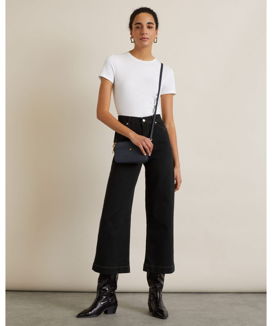Image for Wide Crop Contrast Stitch Jean