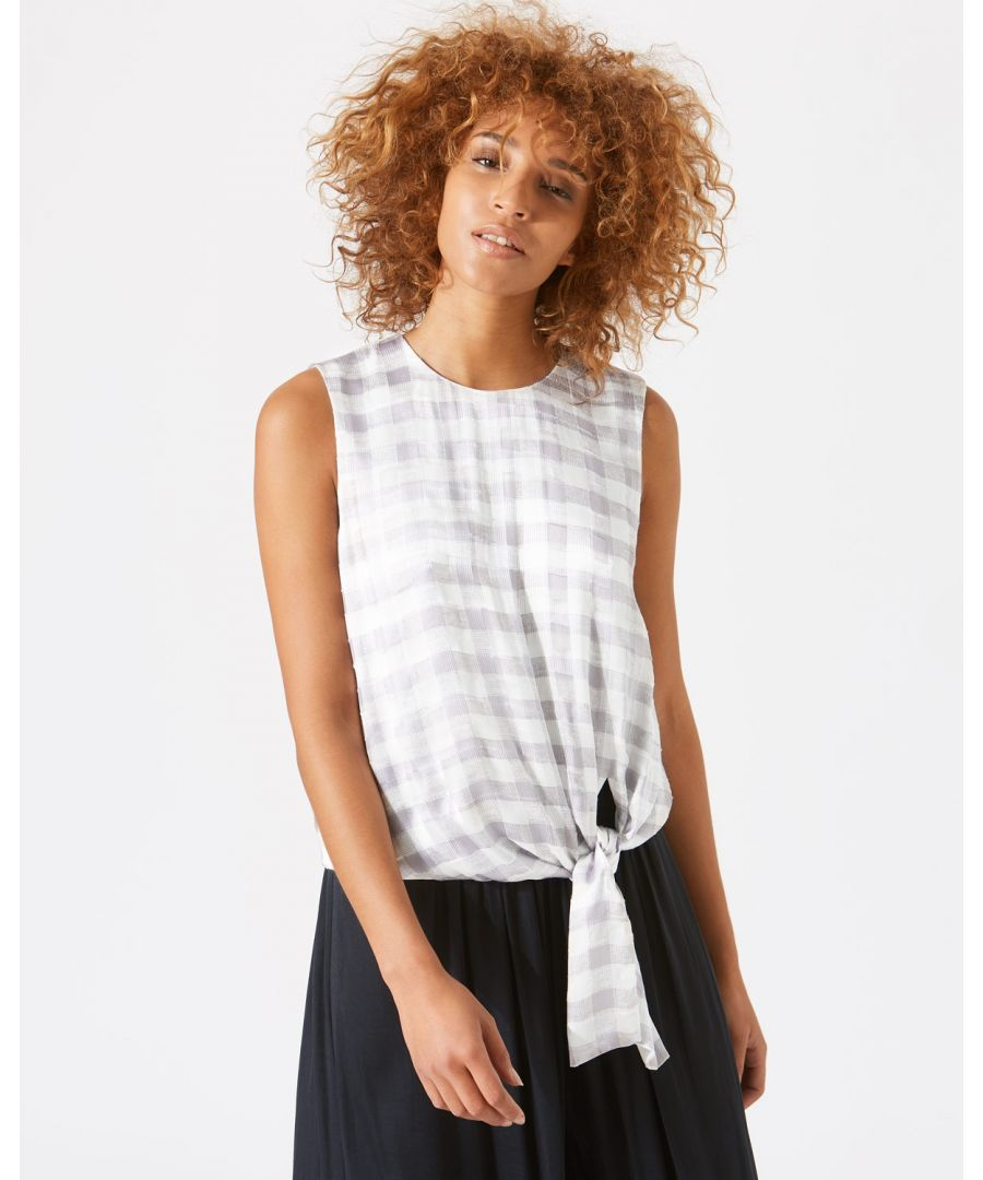 Image for Mini Gingham Tie Front Top