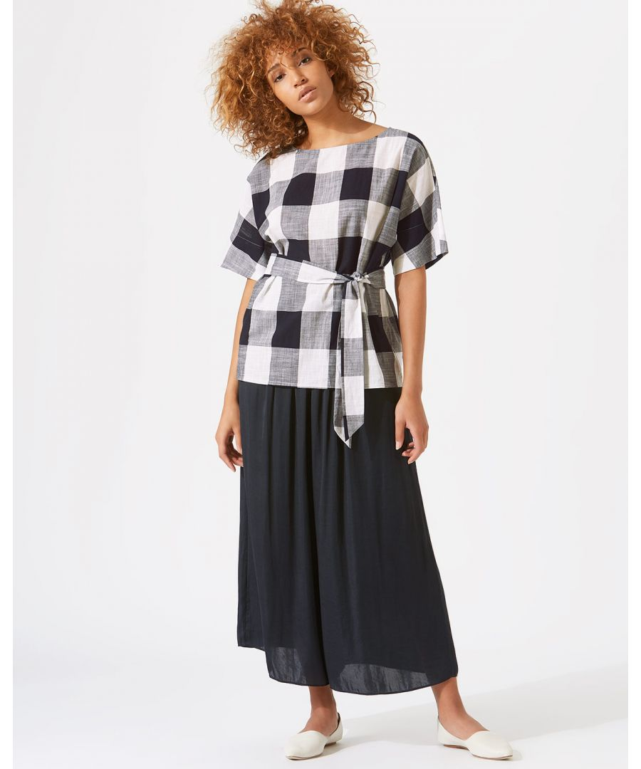 Image for Feather Gingham Belted Top