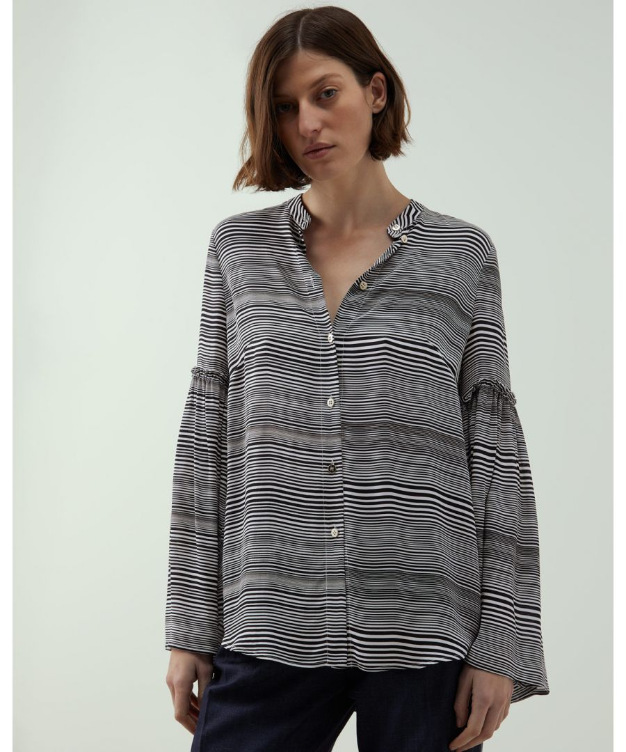 Image for A - Zig Zag Bell Sleeve Blouse