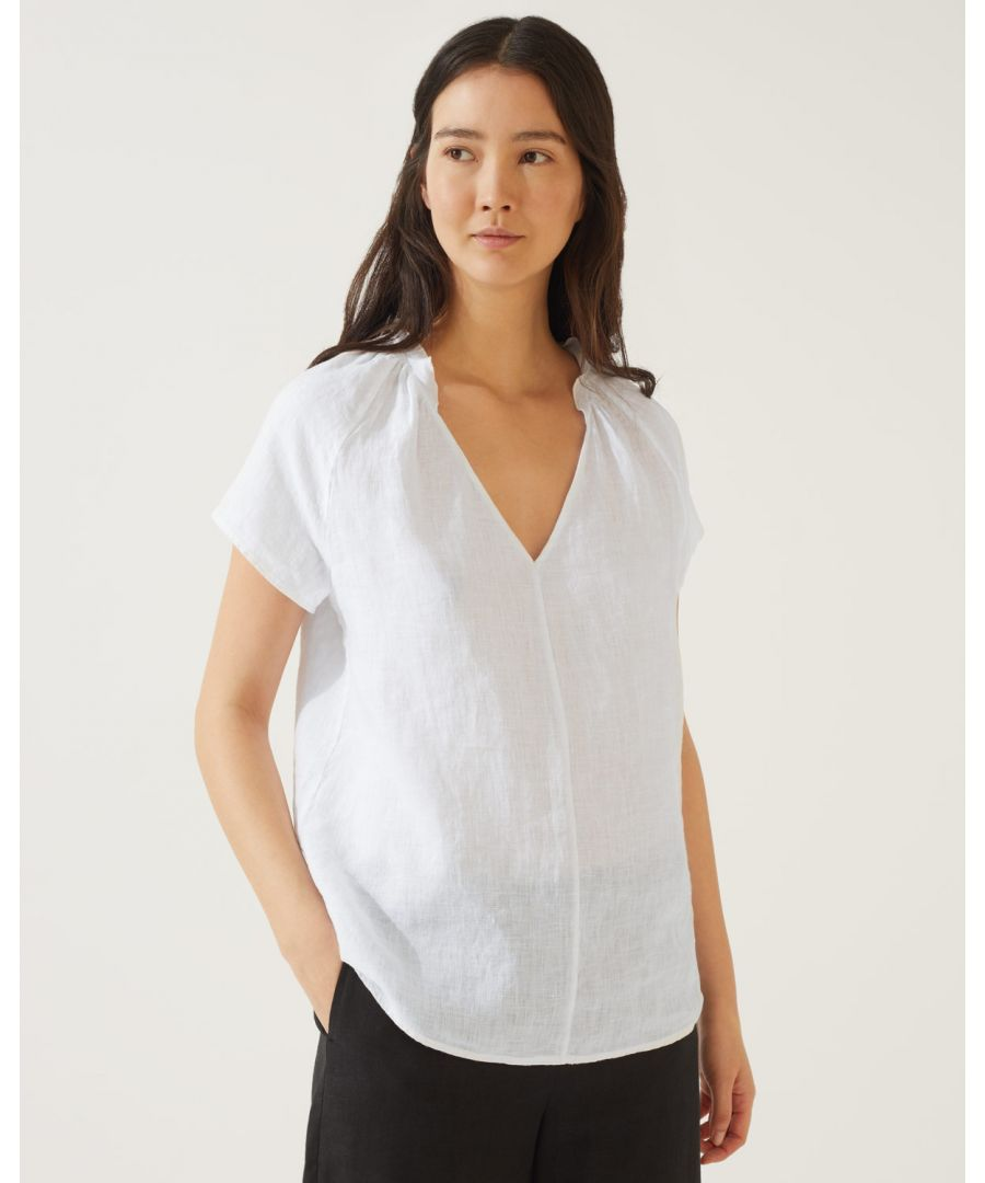 Image for Linen Ruffle Neck Top