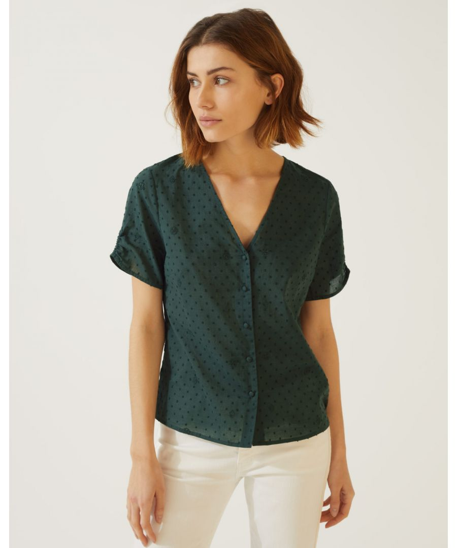 Image for Cotton Broderie Button Top