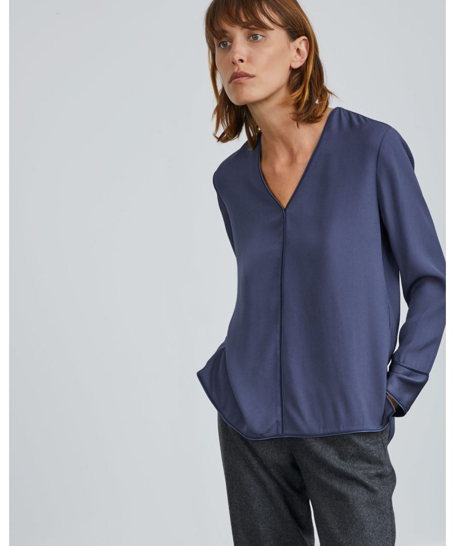 Image for Wide Cuff Satin Back Blouse
