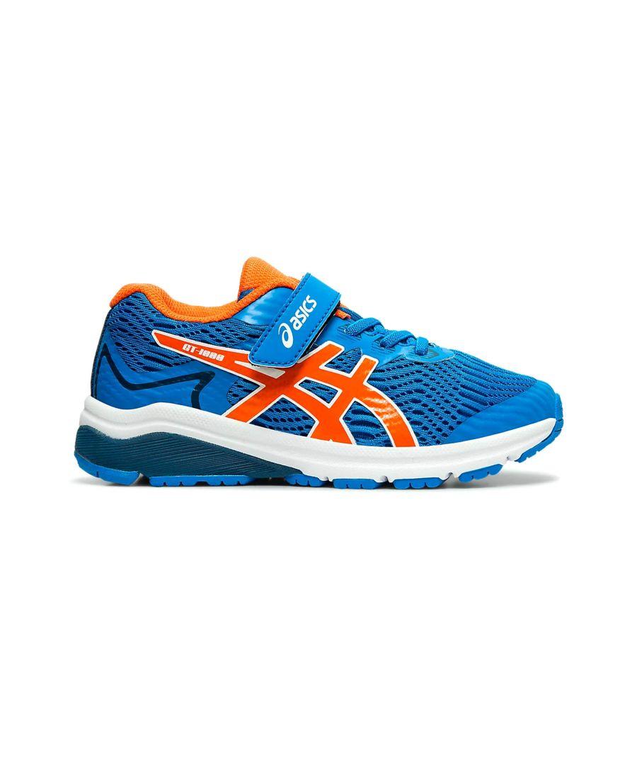 Image for Asics GT-1000 8 Junior Running Trainer Blue/Orange - UK 13