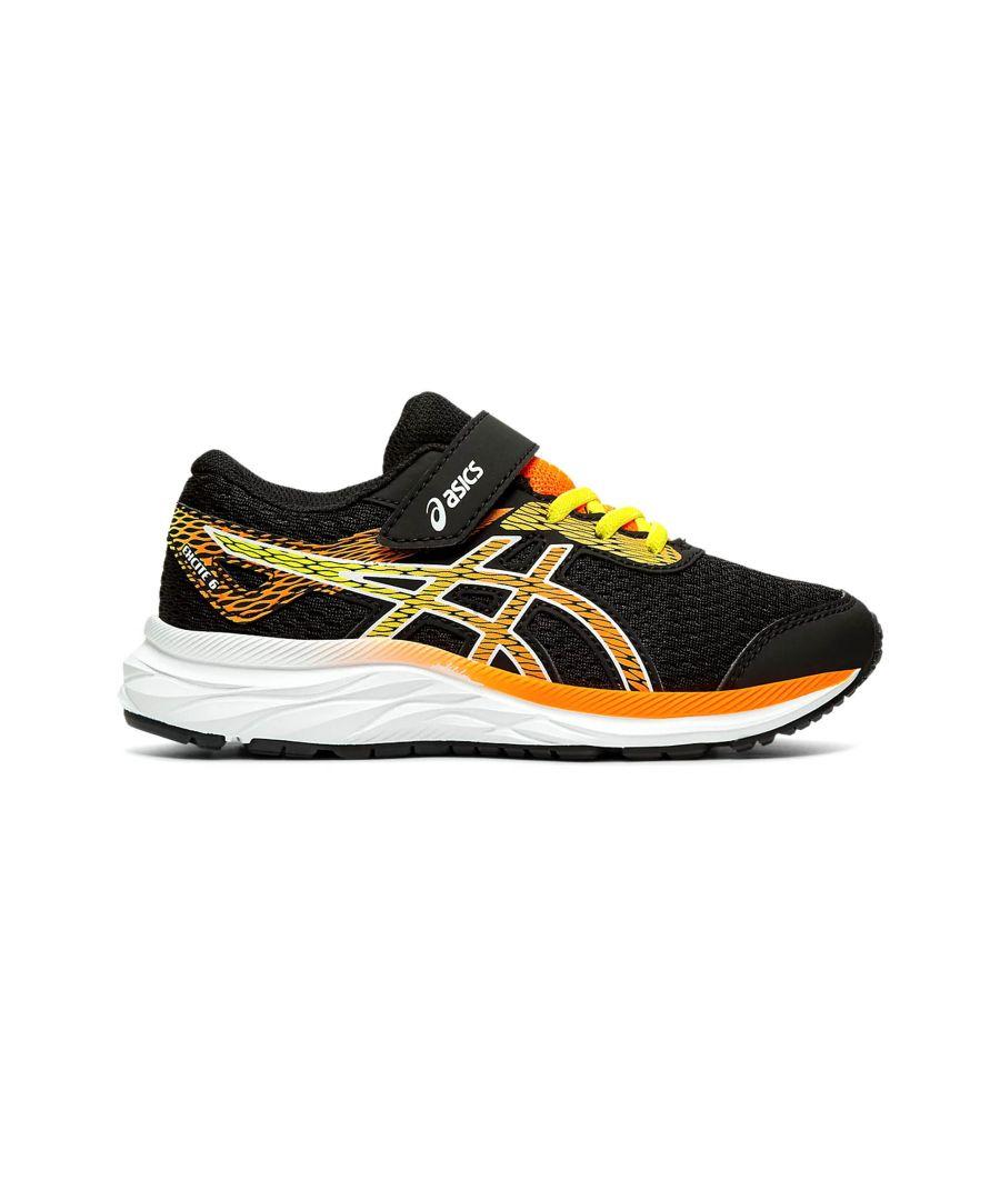 Image for Asics Excite 6 Junior Running Trainer Black/Yellow/Orange - UK 10