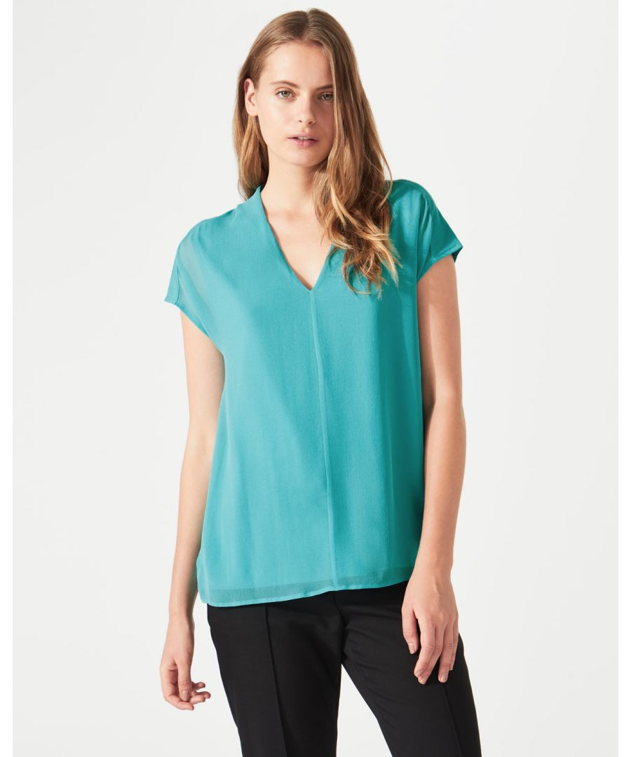 Image for Overlay Silk Front V Neck Top