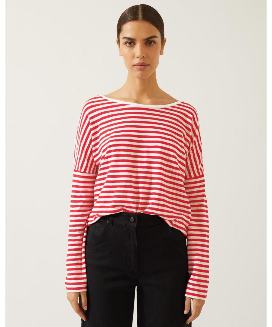 Image for Button Back Stripe Slub Tee