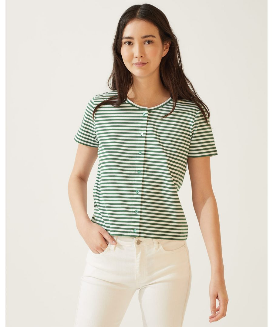 Image for Button Through Stripe Tee