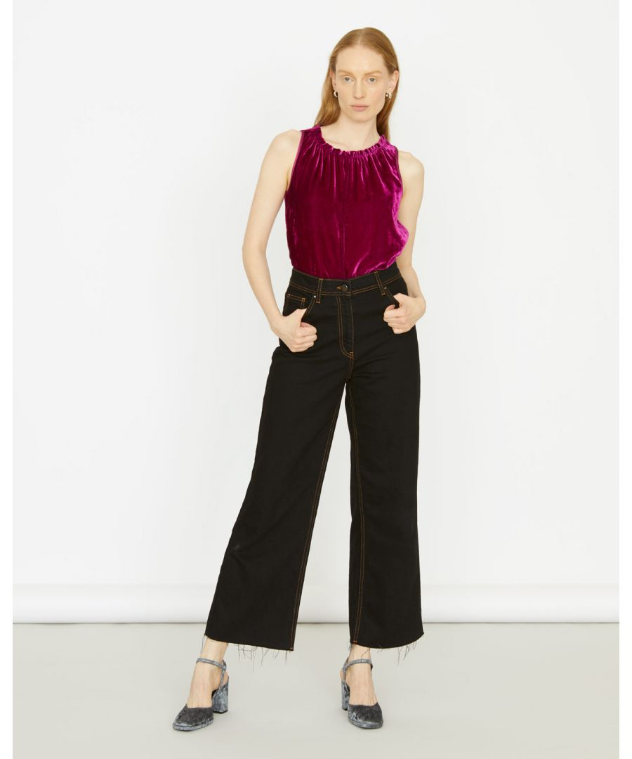Image for Velvet Front Gathered Neck Top