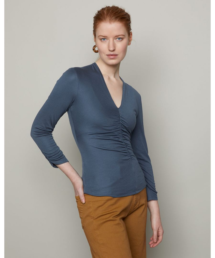 Image for Gathered V Neck Jersey Top