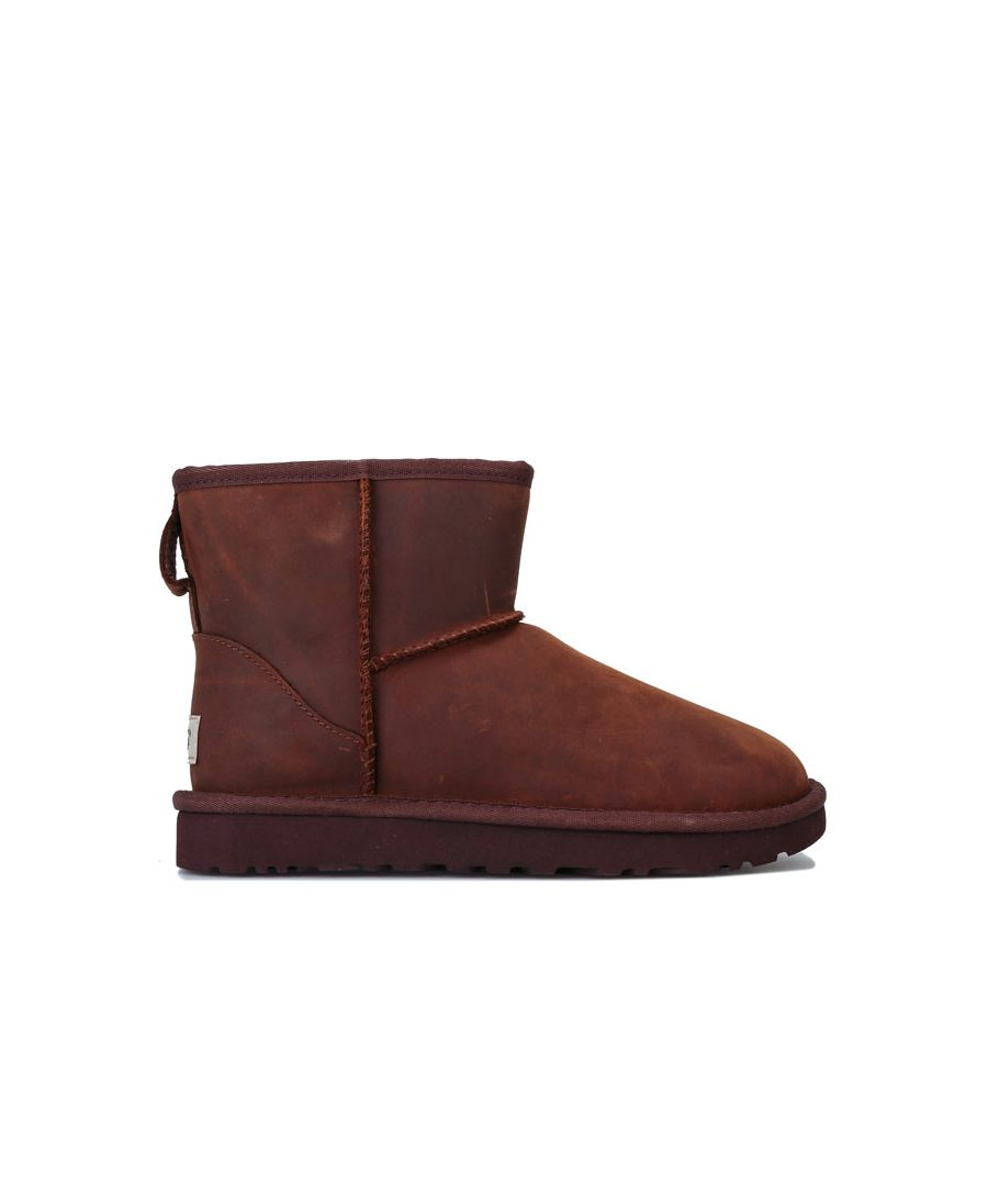 Image for Women's Ugg Australia Classic Mini Leather Boots in Chestnut