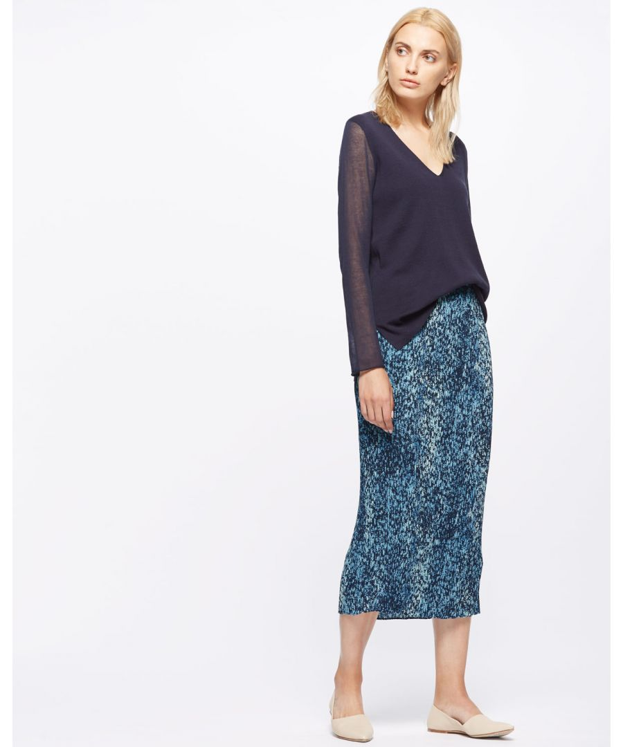 Image for Shadow Floral Pleated Midi Skt