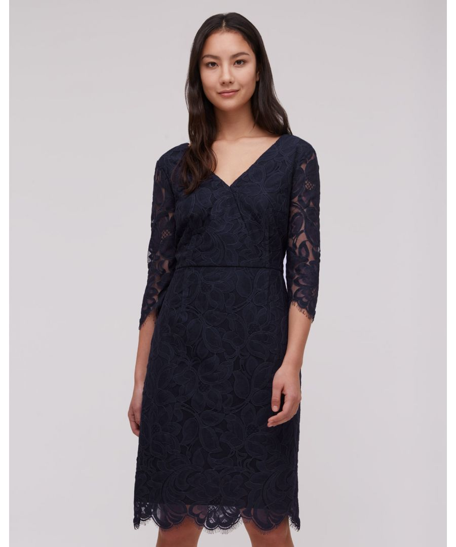 Image for 3/4 Sleeve V Neck Lace Dress