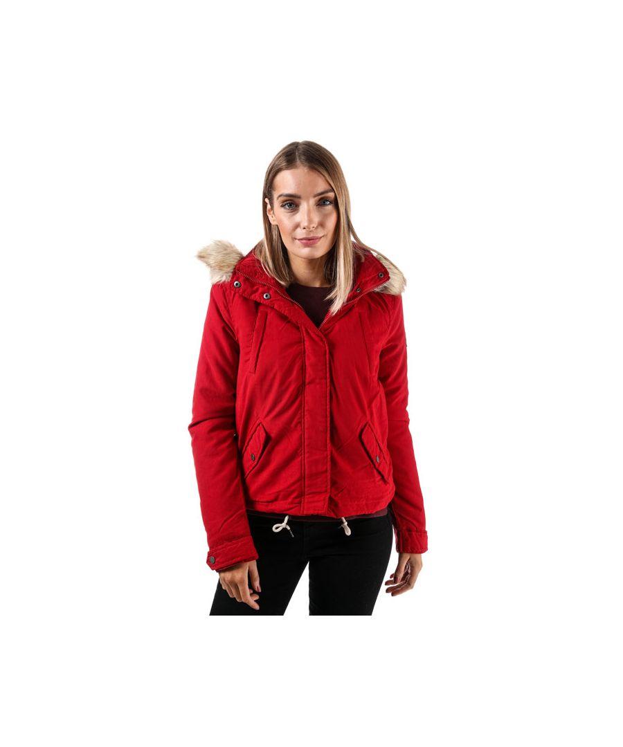 Image for Women's Vero Moda Limit Brushed Short Parka Jacket in Red