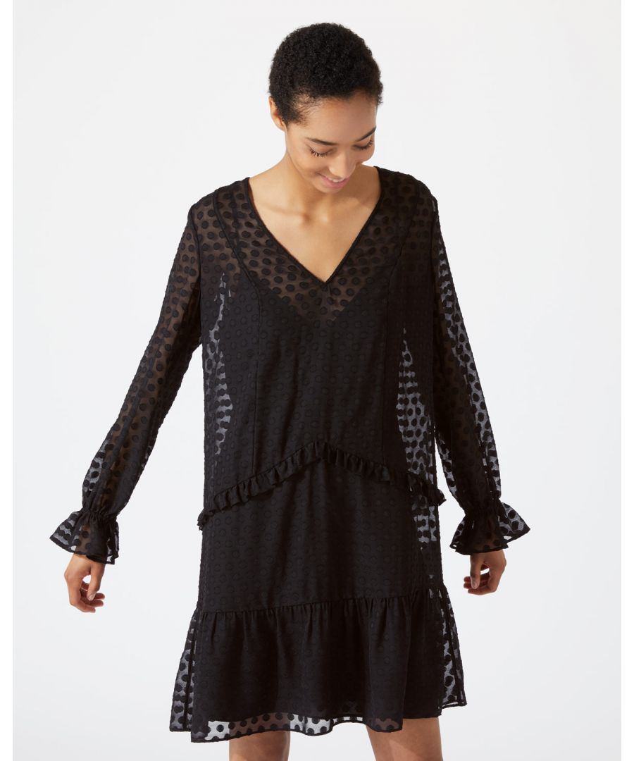Image for Spot Jacquard Drop Waist Dress