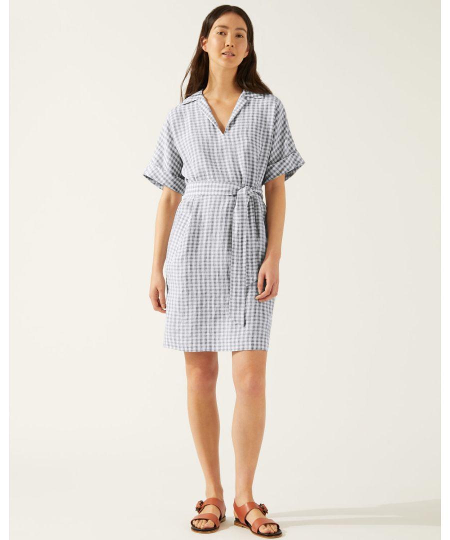 Image for Gingham Linen Belted Dress