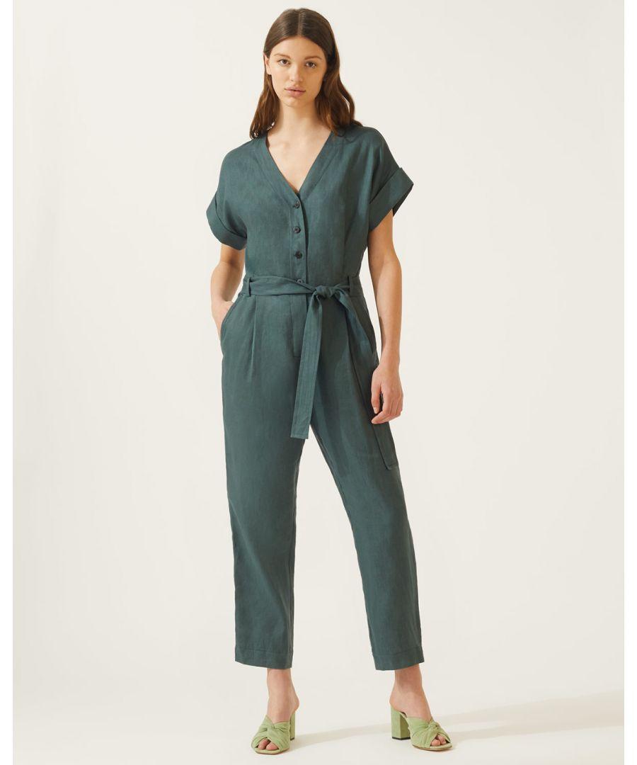 Image for V Neck Belted Linen Jumpsuit