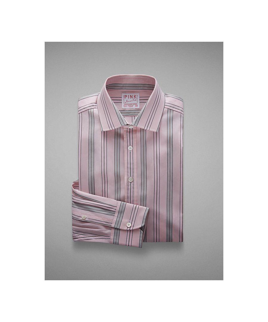 Image for Tailored Fit Vintage Fine Stripe Poplin  Button Cuff Shirt