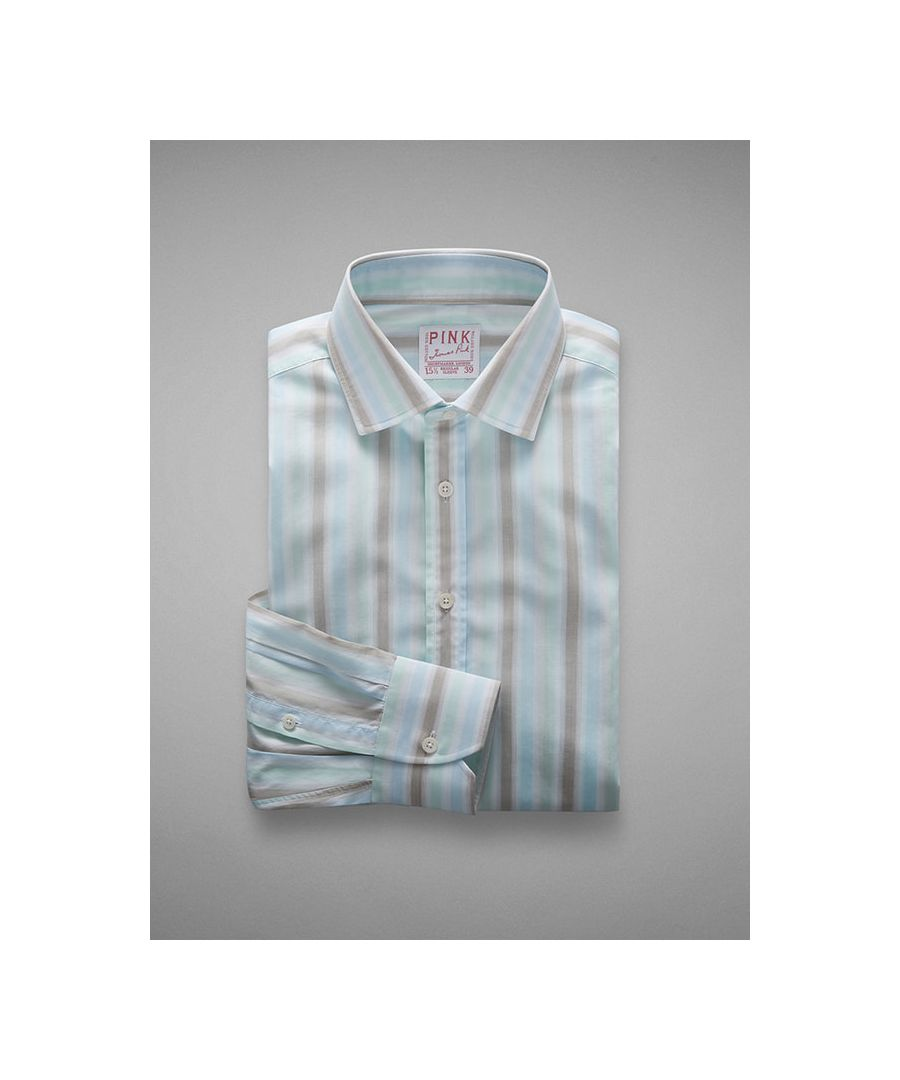 Image for Vintage End on End Stripe Poplin Button Cuff