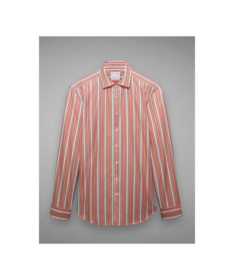 Image for Slim Silhouette Soft Collar Multi Coloured Stripe Poplin Button Cuff Shirt