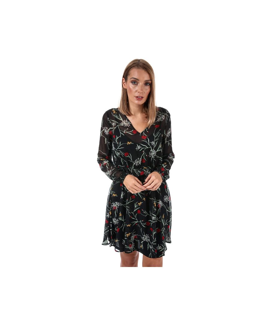 Image for Women's Vero Moda Becca V-Neck Floral Dress in Black