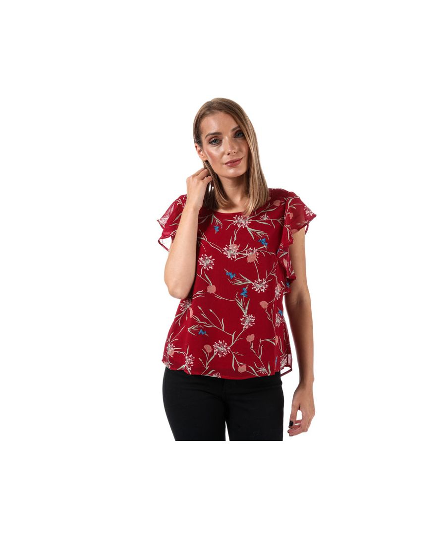 Image for Women's Vero Moda Becca Floral Cap Sleeve Top in Red