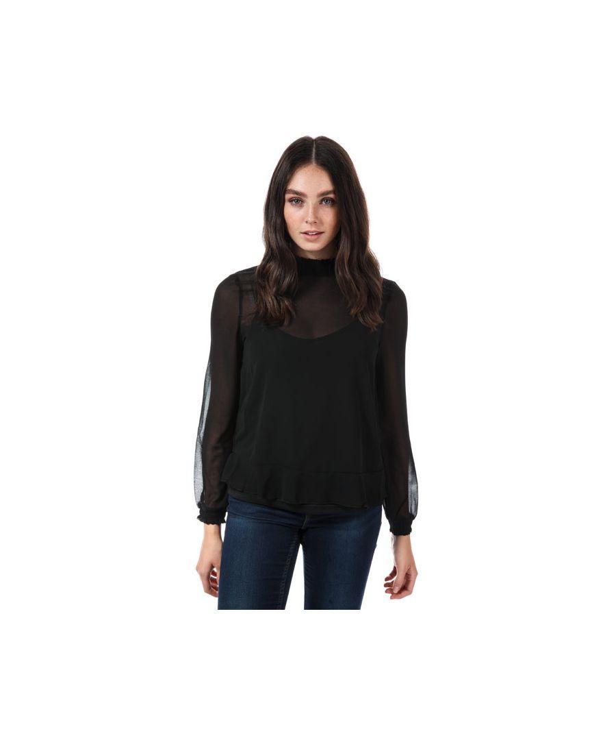 Image for Women's Vero Moda Becca Long Sleeve Chiffon Top in Black