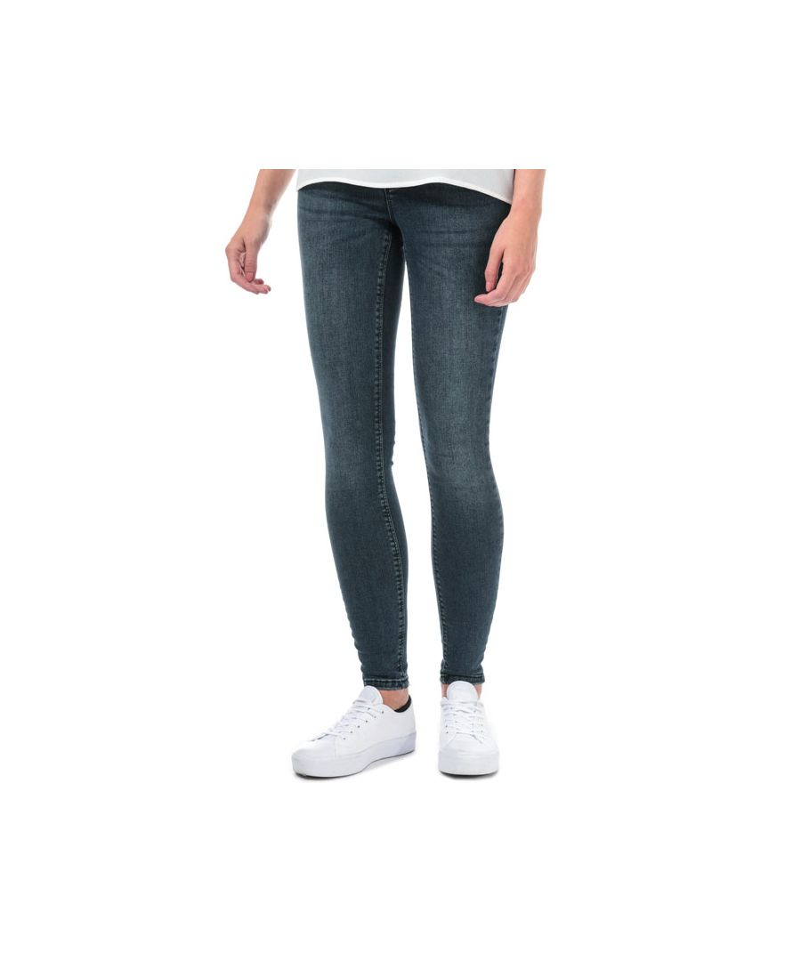 Image for Women's Vero Moda Lux Mid Rise Super Slim Jeans in Dark Blue
