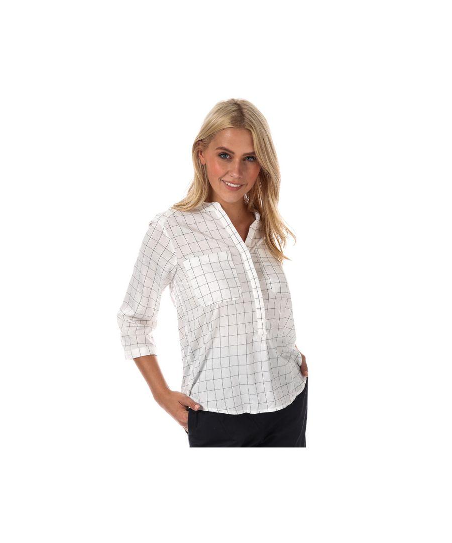 Image for Women's Vero Moda Erika Checker 3 Quarter Sleeve Shirt in White