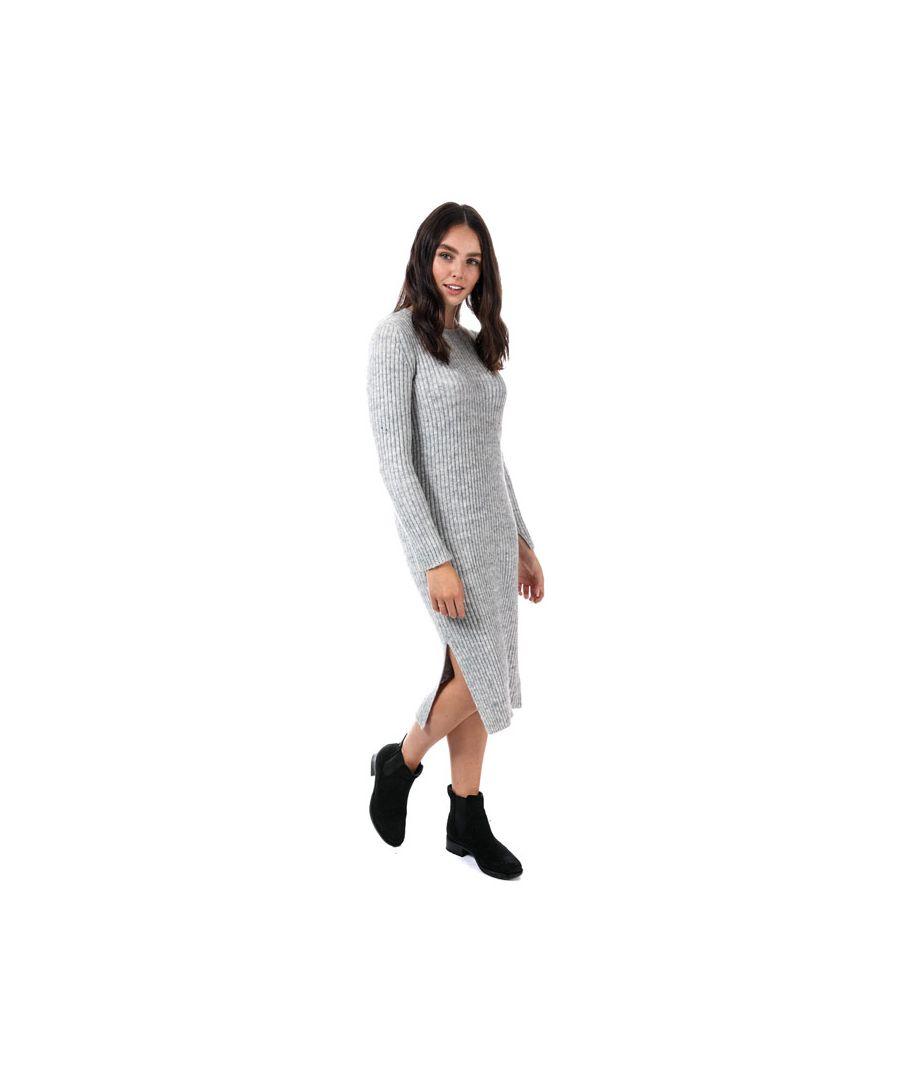 Image for Women's Vero Moda Rozina Long Sleeve Jumper Dress in Light Grey