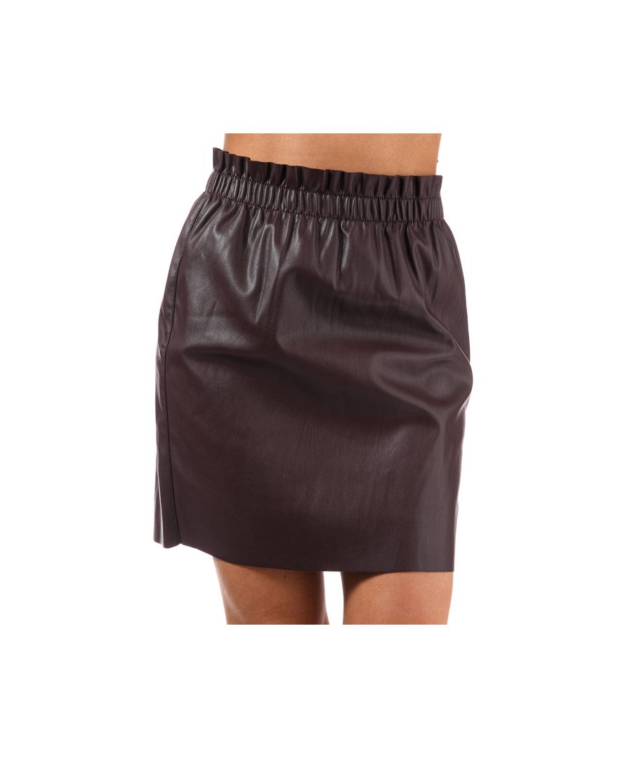 Image for Women's Vero Moda Riley Ruffle Faux Leather Skirt in wine