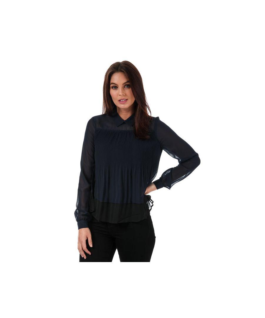 Image for Women's Vero Moda Lea Plisse Long Sleeve Top in Navy