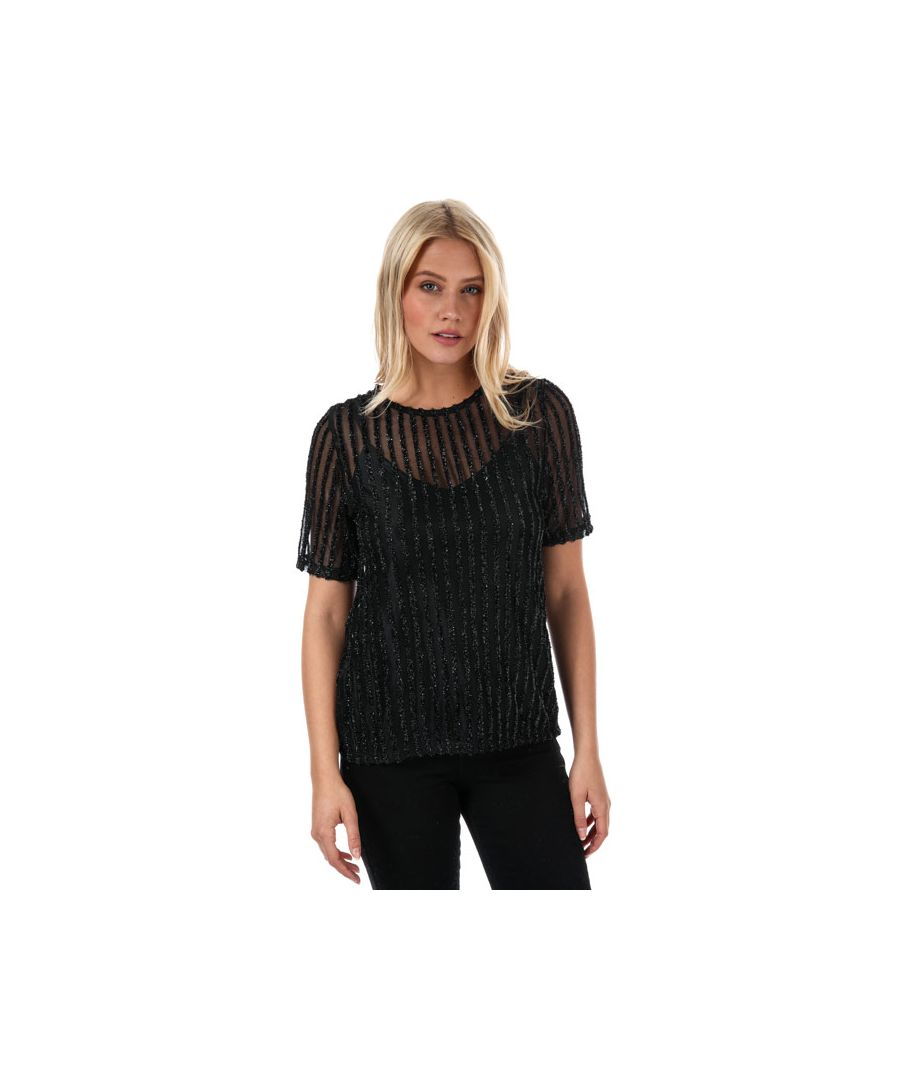 Image for Women's Vero Moda Shane Sparkle Stripe Top in Black