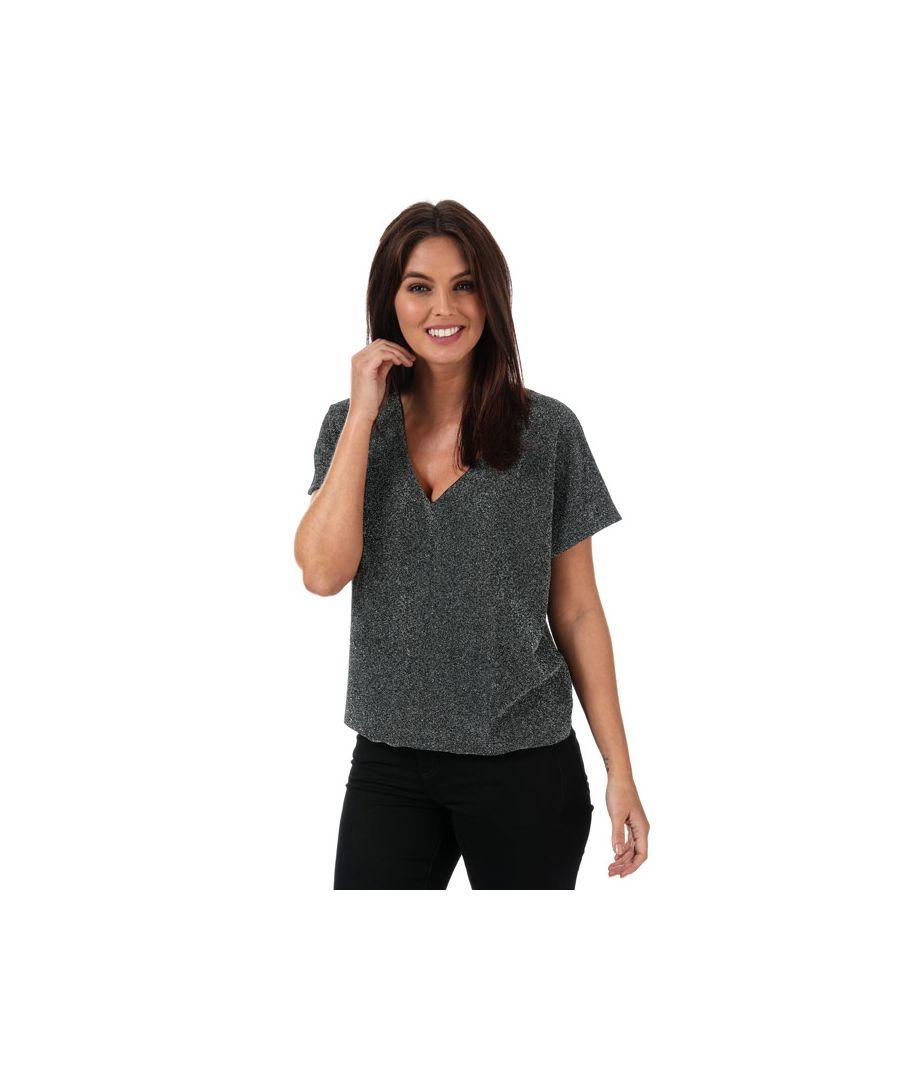 Image for Women's Vero Moda Githa Glitter Short Sleeve Top in Black silver
