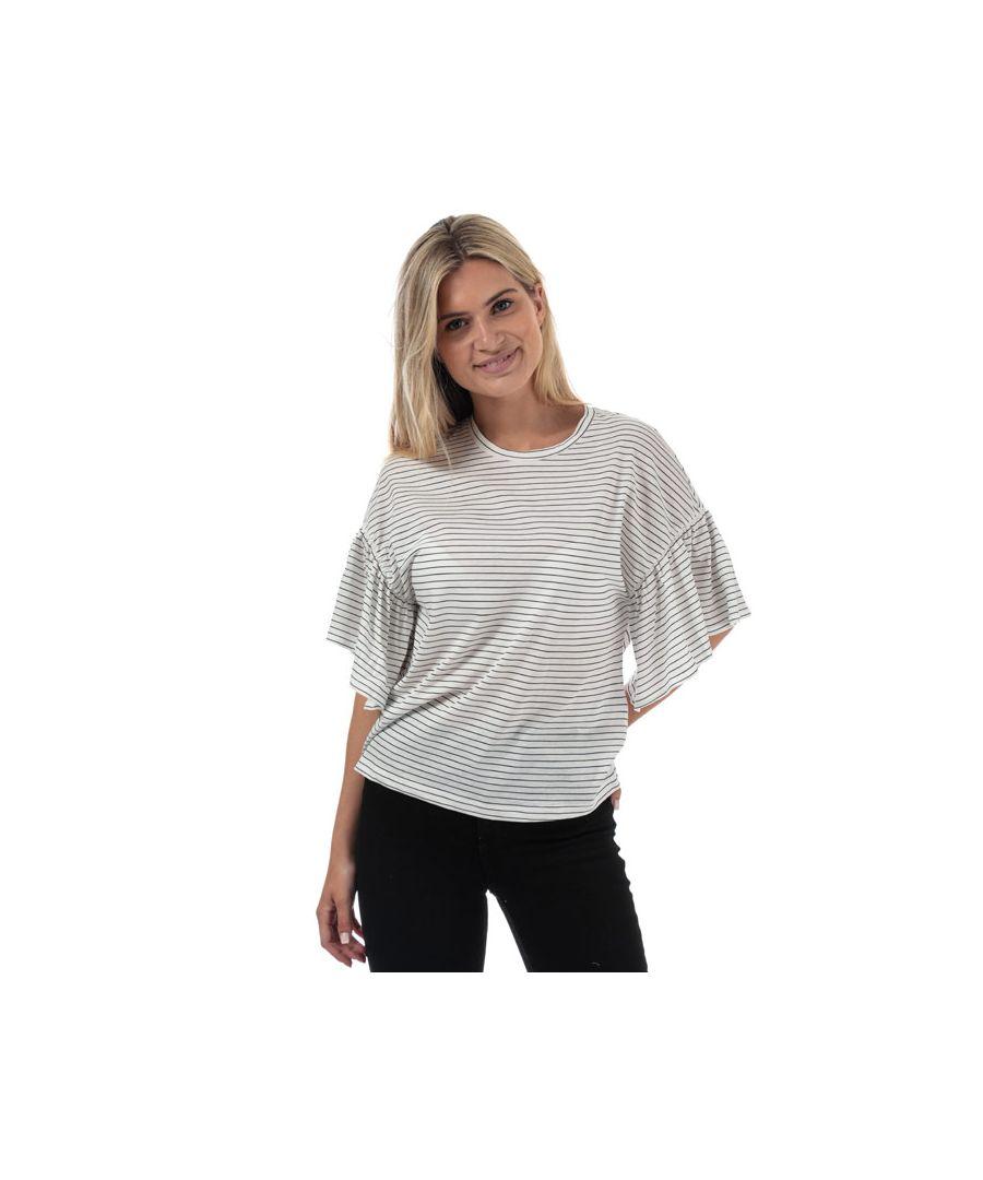 Image for Women's Vero Moda Rebecca Stripe Jersey Top in White Navy