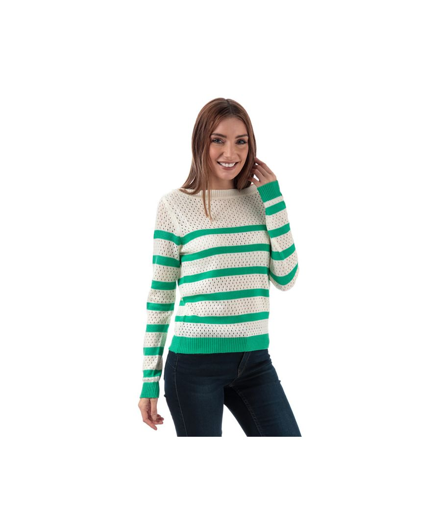 Image for Women's Vero Moda Score Stripe Jumper in White Green
