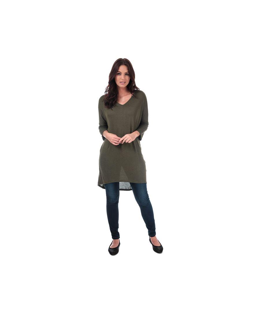 Image for Women's Vero Moda Paya V-Neck Longline Jersey Top in olive