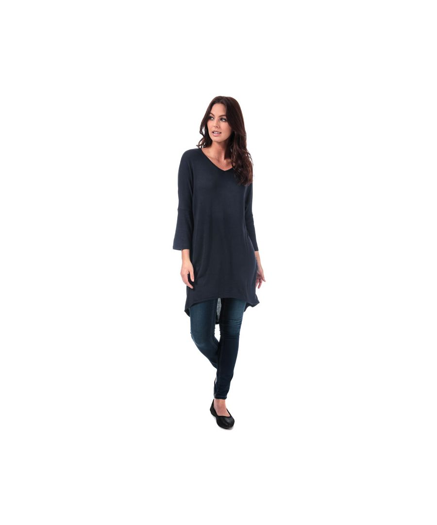 Image for Women's Vero Moda Paya V-Neck Longline Jersey Top in Navy