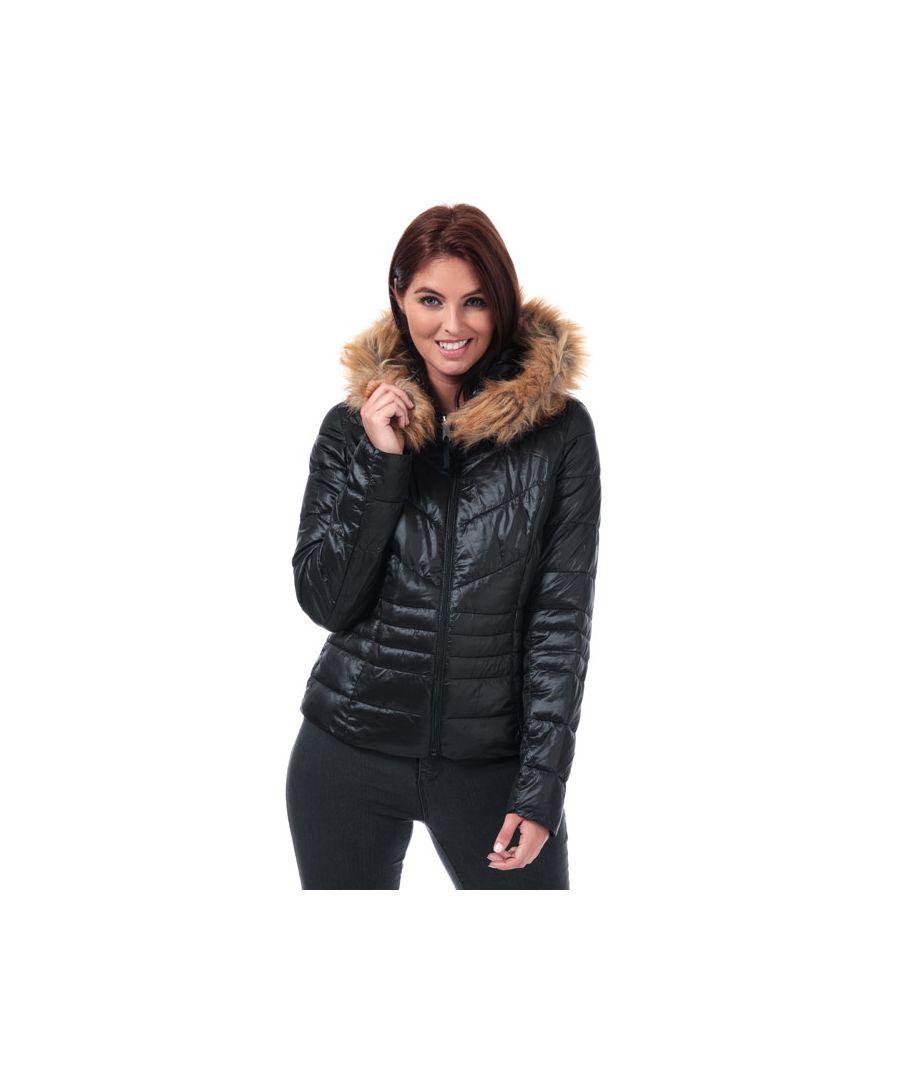 Image for Women's Vero Moda Soraya Siv Faux Fur Trim Jacket in Black
